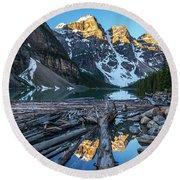 Lake Moraine Peaks Reflection Logscape Round Beach Towel