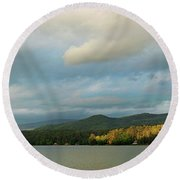 Round Beach Towel featuring the photograph Lake Morey Spring Sun by Nancy Griswold