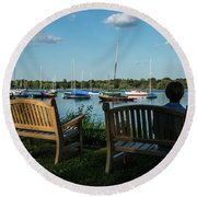 Lake Nokomis Peace Minneapolis City Of Lakes  Round Beach Towel