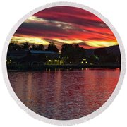 Lake Of Fire Round Beach Towel