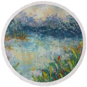 Lake Of Provence Round Beach Towel