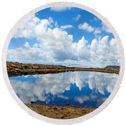 Lake Of The Sky Round Beach Towel
