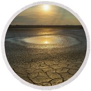 Round Beach Towel featuring the photograph Lake On Fire by Davor Zerjav