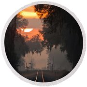 Lake Park Sunrise Round Beach Towel