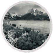 Lake Pehoe In Black And White Round Beach Towel by Andrew Matwijec