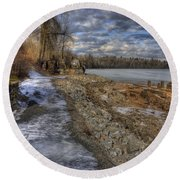 Lake Pend D'oreille At Humbird Ruins Round Beach Towel