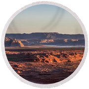 Lake Powell Sunrise Panorma Round Beach Towel
