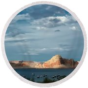 Lake Powell Water Color Effect Round Beach Towel by Tom Prendergast