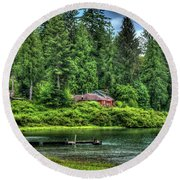 Lake Quinault 3 Round Beach Towel by Richard J Cassato