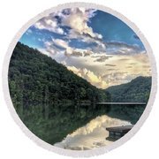 Round Beach Towel featuring the photograph Lake Reflections by Kerri Farley