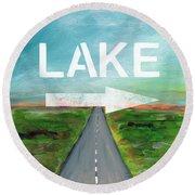 Lake Road- Art By Linda Woods Round Beach Towel