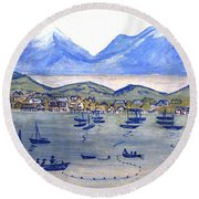 Lake Scene By Bette Wolfe Round Beach Towel