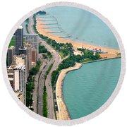 Lake Shore Dr . Chicago Round Beach Towel