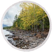 Round Beach Towel featuring the photograph Lake Shore by Fran Riley