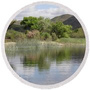 Lake Skinner In Spring Round Beach Towel by Suzanne Oesterling