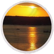 Lake Sunset  Round Beach Towel by Don Koester