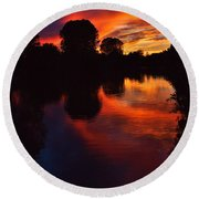 Lake Sunset Reflections Round Beach Towel