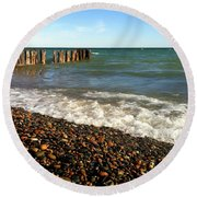 Lake Superior At Whitefish Point Round Beach Towel by Michelle Calkins