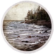 Round Beach Towel featuring the photograph Lake Superior Waves by Phil Perkins