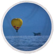 Round Beach Towel featuring the photograph Lake Tahoe Balloon by Mitch Shindelbower