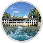 Round Beach Towel featuring the photograph Lake Tahoe Dam by David Lawson