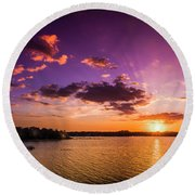 Lake Tarpon Sunset Round Beach Towel