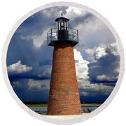 Lake Toho Lighthouse 002  Round Beach Towel