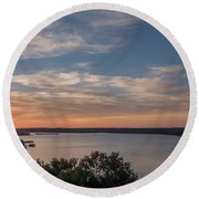 Lake Travis During Sunset With Clouds In The Sky Round Beach Towel