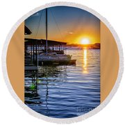 Round Beach Towel featuring the photograph Lake Travis by Walt Foegelle