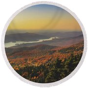 Lake Tremblant At Sunset Round Beach Towel