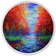 Olena Art Lake View Abstract Artwork Round Beach Towel