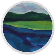 Lake Visit Round Beach Towel