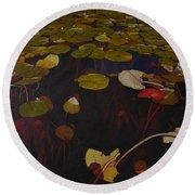 Round Beach Towel featuring the painting Lake Washington Lilypad 7 by Thu Nguyen