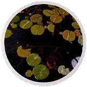 Round Beach Towel featuring the painting Lake Washington Lilypad 8 by Thu Nguyen