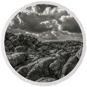 Round Beach Towel featuring the photograph Lake Watson Granite Rocks Prescott Arizona Bnw 2482 by David Haskett