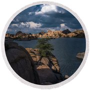 Round Beach Towel featuring the photograph Lake Watson Prescott Arizona 2498 by David Haskett