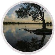 Lake Wilcox Lone Tree 0690 Round Beach Towel