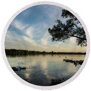 Lake Wilcox Lone Tree 0698 Round Beach Towel