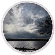 Lake Wilcox Thunder Clouds-1519 Round Beach Towel