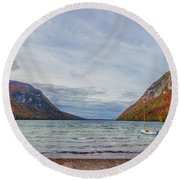 Lake Willoughby Blustery Fall Day Round Beach Towel