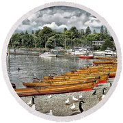Round Beach Towel featuring the photograph Lake Windamere by Walt Foegelle