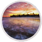 Lake Winnipesaukee January Sunrise Round Beach Towel