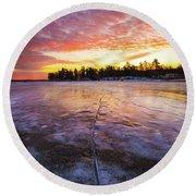 Lake Winnipesaukee January Sunrise Round Beach Towel