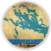 Lake Winnipessaukee New Hampshire Vintage Print  Round Beach Towel