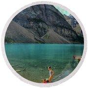 Lake With Kayaks Round Beach Towel