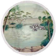 Lake With Oasis And Palm Trees Round Beach Towel