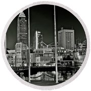 Round Beach Towel featuring the photograph Lakefront Grayscale by Frozen in Time Fine Art Photography