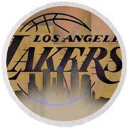 Lakers Skyline Round Beach Towel