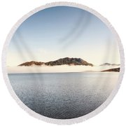 Lakes In Morning View Round Beach Towel