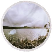 Lakes In Sunset Round Beach Towel